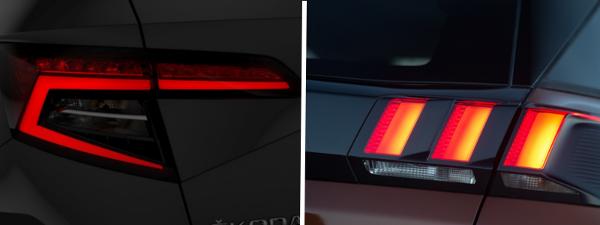 Essai comparatif Skoda Karoq VS Peugeot 3008 : bilan (détail optique arrière)