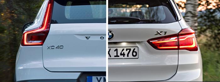 Essai comparatif Volvo XC40 VS BMW X1 : détail optique arrière