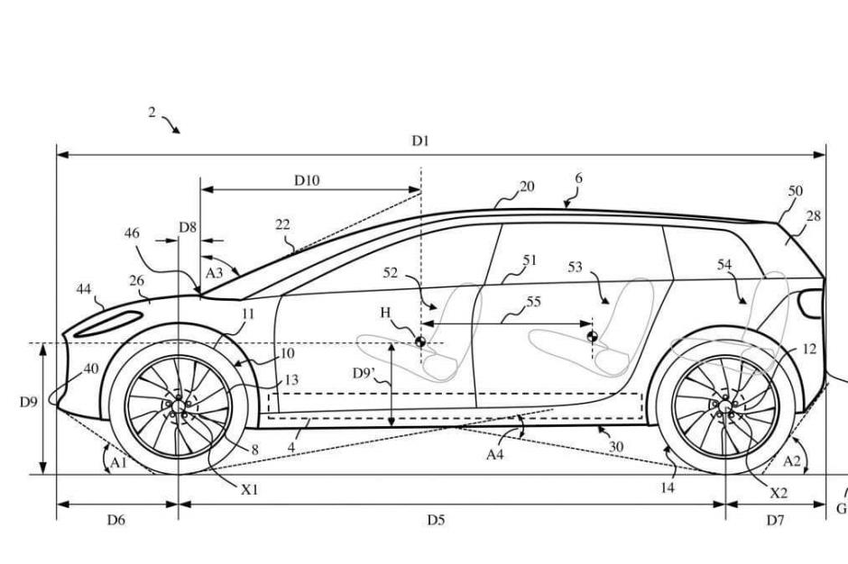 Croquis des brevets déposés par la marque Dyson pour sa future voiture électrique